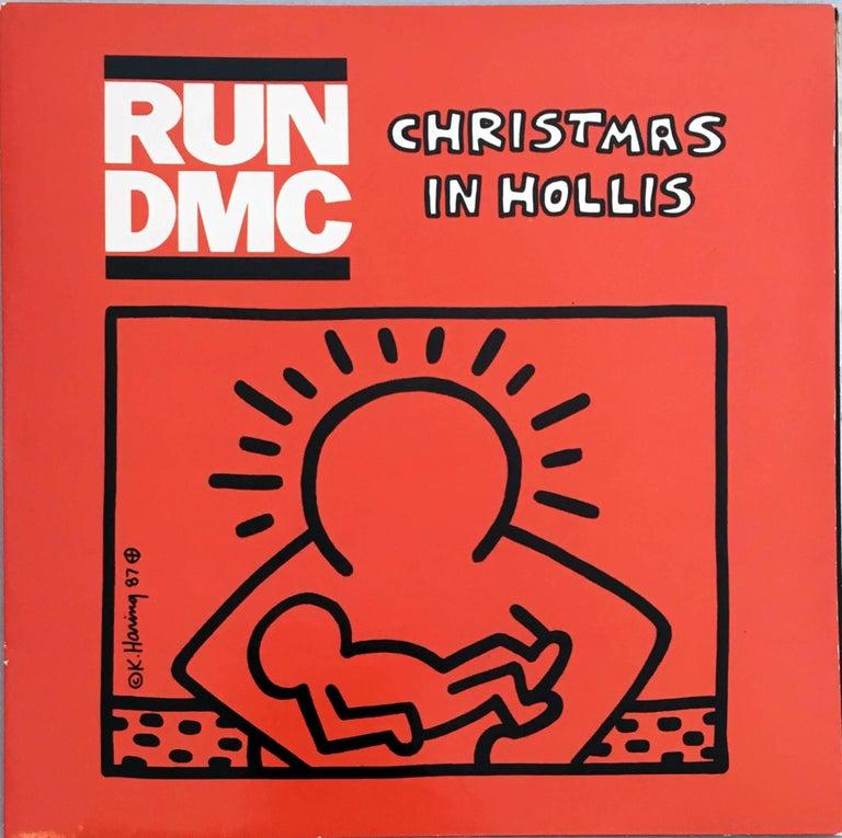 3290dc495eeb Keith Haring. Rare Original Keith Haring Vinyl Record Art (Run Dmc Christmas )