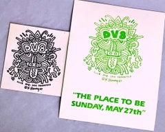 Keith Haring DV8 San Francisco (set of 2 1980s Haring designed announcements)
