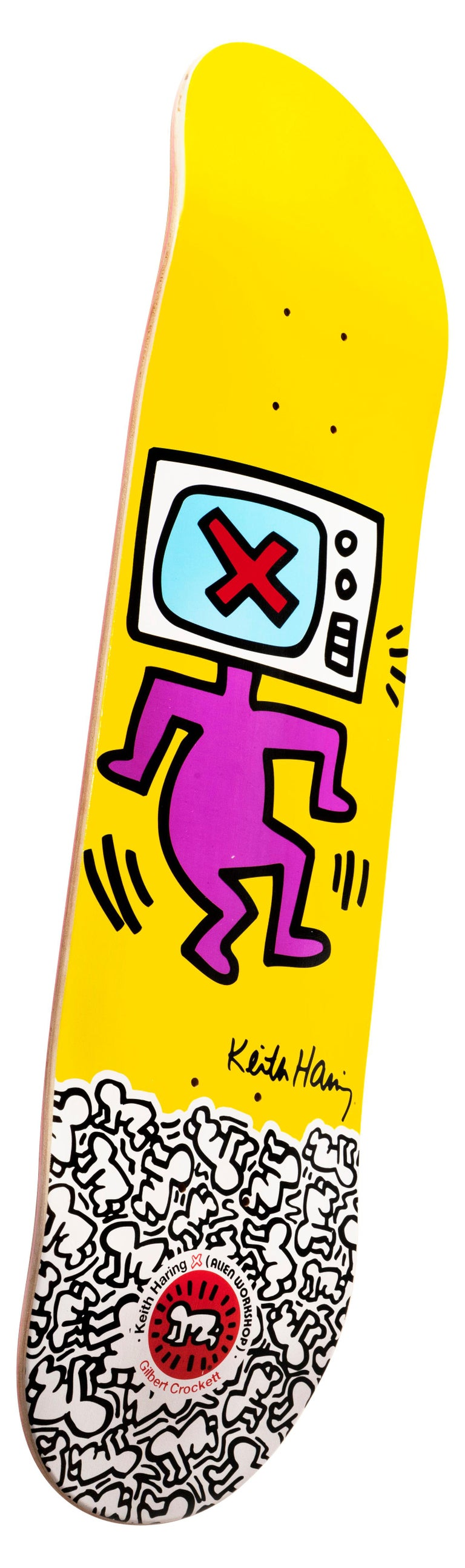 Keith Haring TV Head Skate Deck (Keith Haring yellow) - Art by (after) Keith Haring