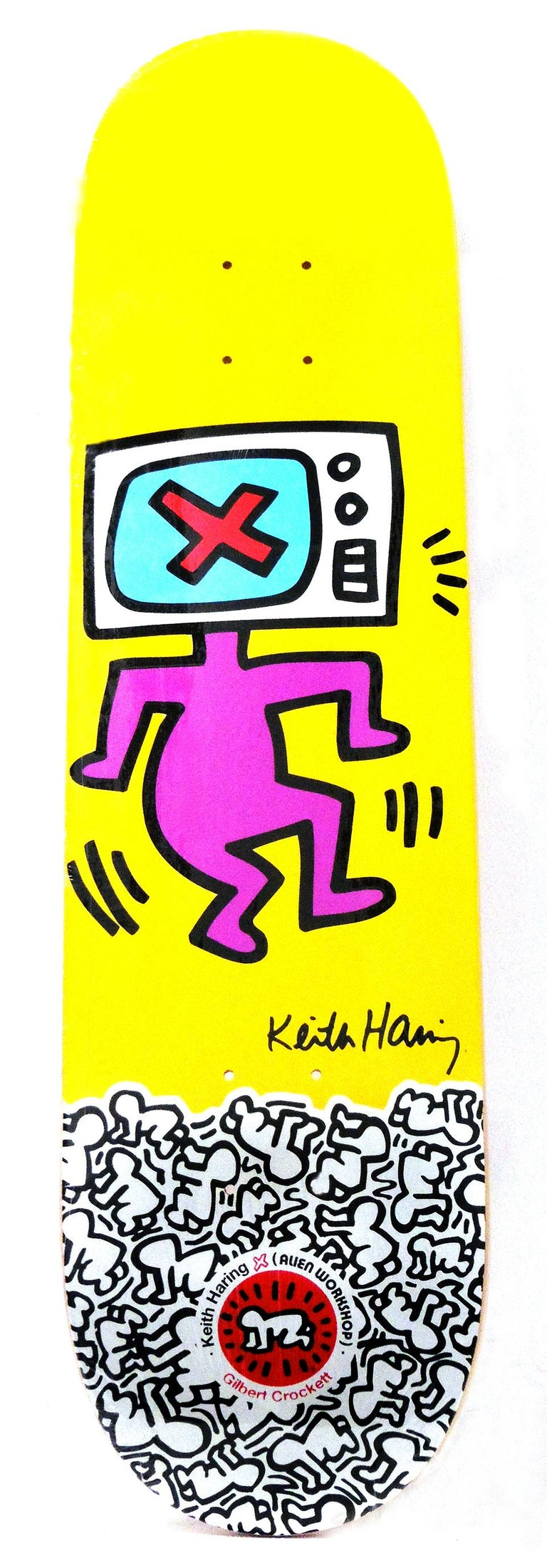 Keith Haring TV Head Skate Deck (Keith Haring yellow) - Pop Art Art by (after) Keith Haring