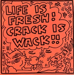 Rare original Keith Haring Vinyl Record Art (Keith Haring Crack Is Wack)
