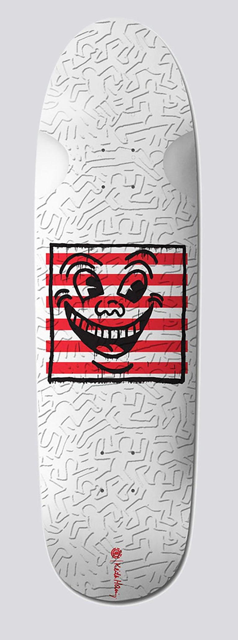 Keith Haring Skateboard Decks: set of 2 (Keith Haring smiley face) - Street Art Mixed Media Art by (after) Keith Haring