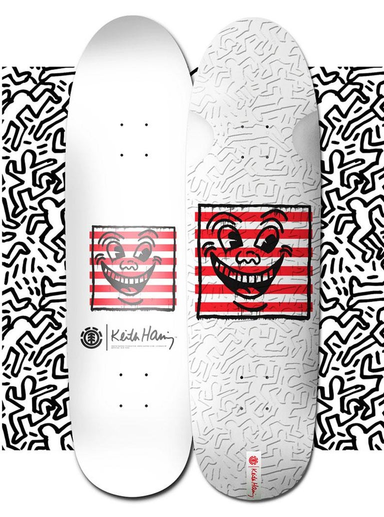 Set of 2 Keith Haring Skateboard Decks: Limited edition estate trademarked Keith Haring Skateboard Decks featuring the artist's iconic imagery. This work is from a sold out collaboration between Element skateboards and the Keith Haring Foundation in