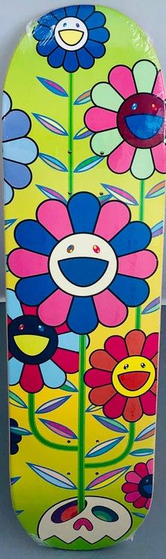 Murakami Flowers skateboard deck (Takashi Murakami black flowers)