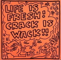 Rare original Keith Haring Vinyl Record Art (Keith Haring Crack Is Wack)