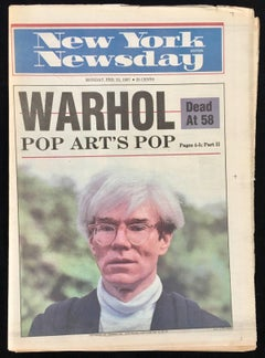 """Warhol Dead at 58"" (New York Newsday 1987 Warhol death)"