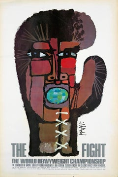 Vintage Muhammad Ali, Joe Frazier Boxing poster: Celestino Piatti 'The Fight'
