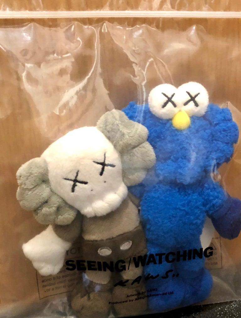 KAWS Seeing/Watching Plush Keychain 2018 New in its original packaging. Released in conjunction with the installation of the KAWS Seeing/Watching sculpture in Hunan, China. The plush figurines feature the well known Companion and BFF arm-in-arm, and