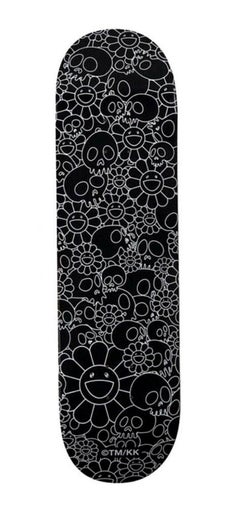 Takashi Murakami Flowers skateboard deck (Murakami black white flowers skulls)