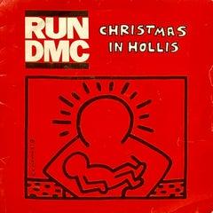 Rare Original Keith Haring Vinyl Record Art (Run Dmc Christmas)