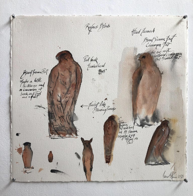 Jane Rosen Animal Painting - Rufous Birds