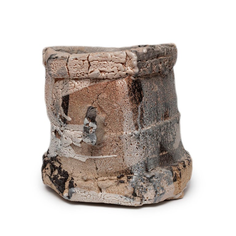 Wood Fired Shino Glaze Vessel by Jeff Shapiro For Sale 1