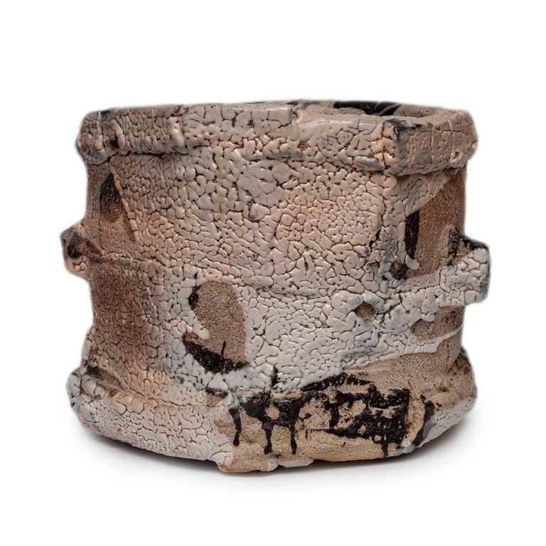 stoneware, shino glaze, wood fired  signed by artist