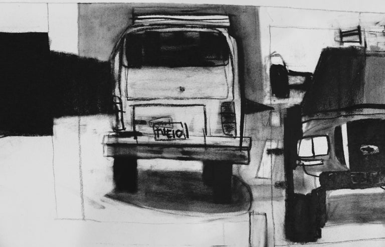 """Untitled Jonas Wood charcoal on thick paper 60 x 13"""" signed COA from Wood Kusaka Studios 2003 VERY RARE!"""