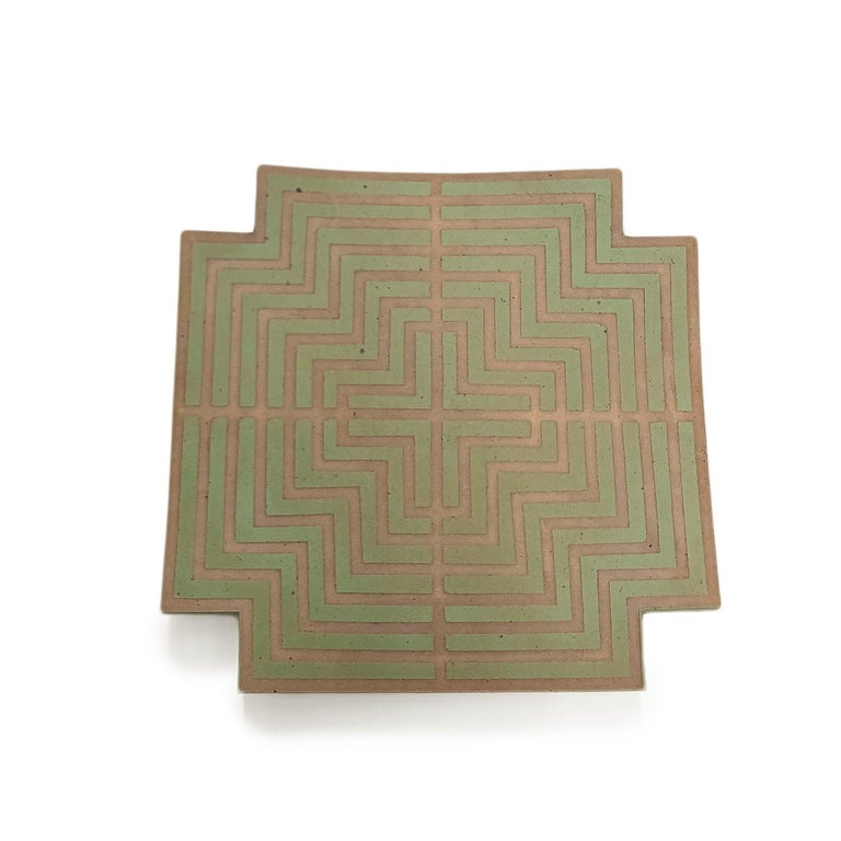 """John Mason  Labyrinth Wall Platter stoneware and glaze 19.5 x 19.5"""" 1990 Signed by artist  John Mason -  One of the most visionary ceramic artists of the last century, Mason brought his medium into conversation with Abstract Expressionism by"""