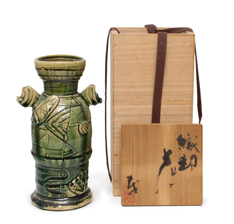 Oribe Vase with Box by Higashima Shigemasa (INV# NP2776)