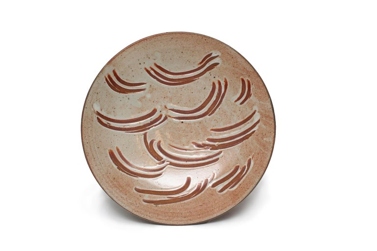 """Warren MacKenzie Finger Swiped Shino Platter approx 3.5 x 19.75 x 19.75"""" Stoneware and glaze date unknown Possibly stamped under the glaze but cannot see the MA mark."""