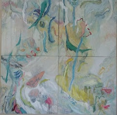"River of Life -quadriptych in greens, white and yellow 102"" X 102"""