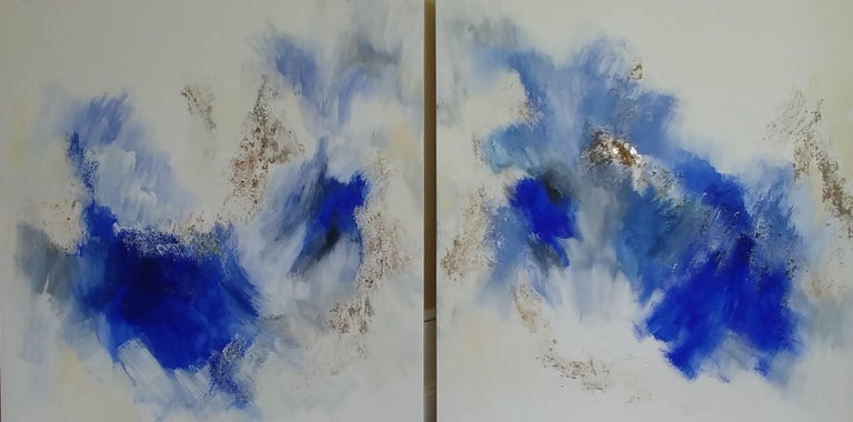 """Nancy Seibert Abstract Painting - Joy in the Morning-Deep Blue Abstract Diptych with Fool's Gold 48""""X96"""""""