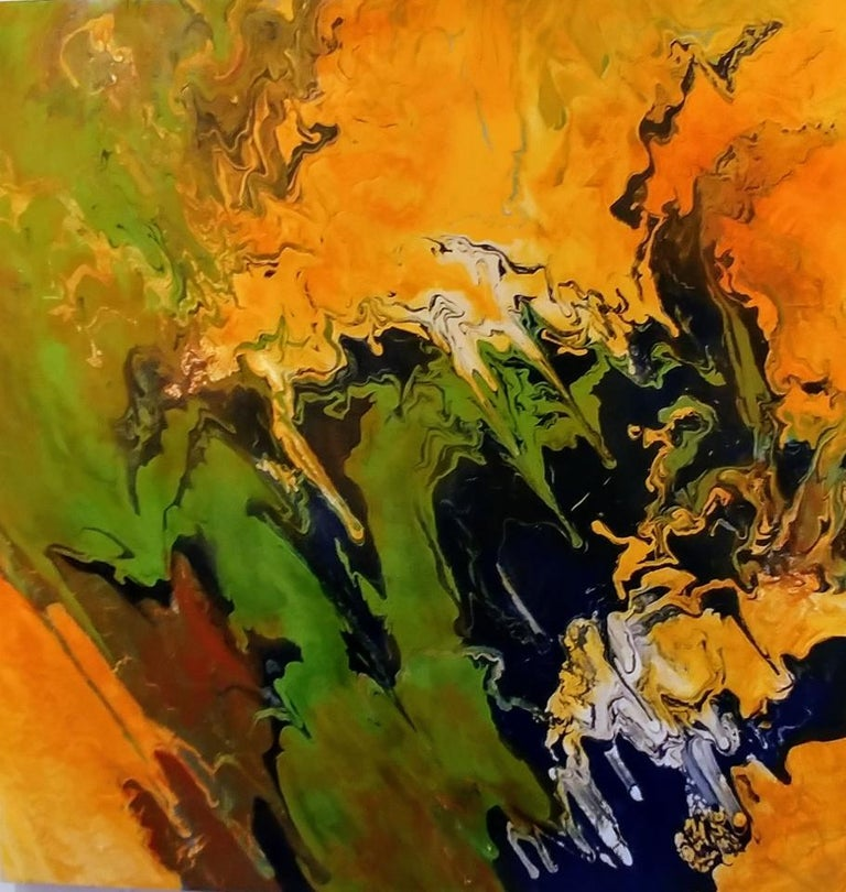 Nancy Seibert Abstract Painting - The Awakening-Orange & Green 48 X 48