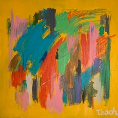 Splashes of color on Yellow- 36 x 36