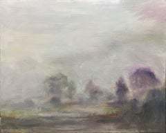 Upstate Mist New York-greyed greens and purple 48 X 60""