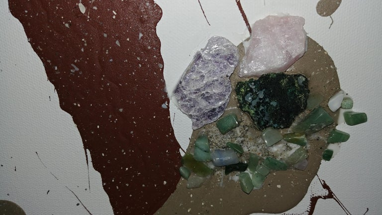 Sea Treasure- Diptych 48 X 96 Semi Precious Stones and Sand with Acrylic. - Abstract Expressionist Painting by Nancy Seibert