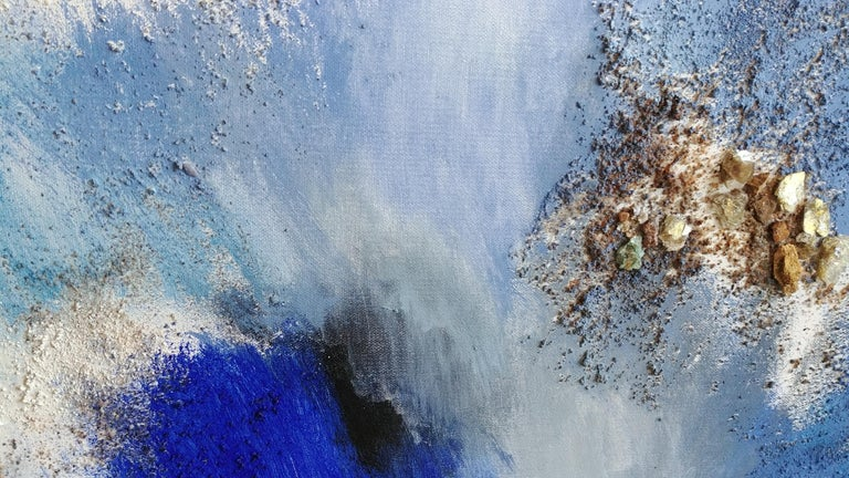 Joy in the Morning-Deep Blue Abstract Diptych with Fool's Gold 48