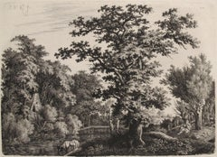 Landscape with an Oaktree alongside a River, a Shepard Playing a Flute