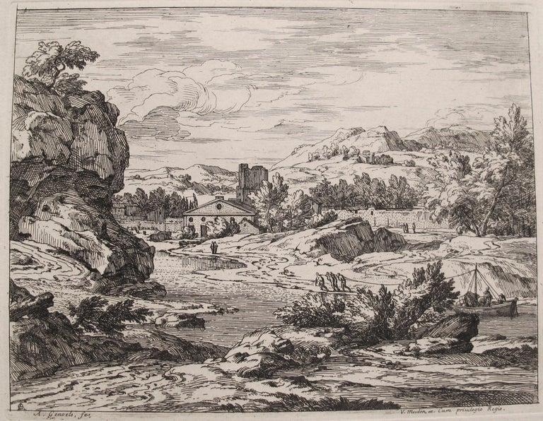 Abraham Genoels Landscape Print - Landscape with Barge