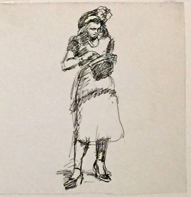 Isabel Bishop Figurative Art - UNTITLED (WOMAN LOOKING IN PURSE).
