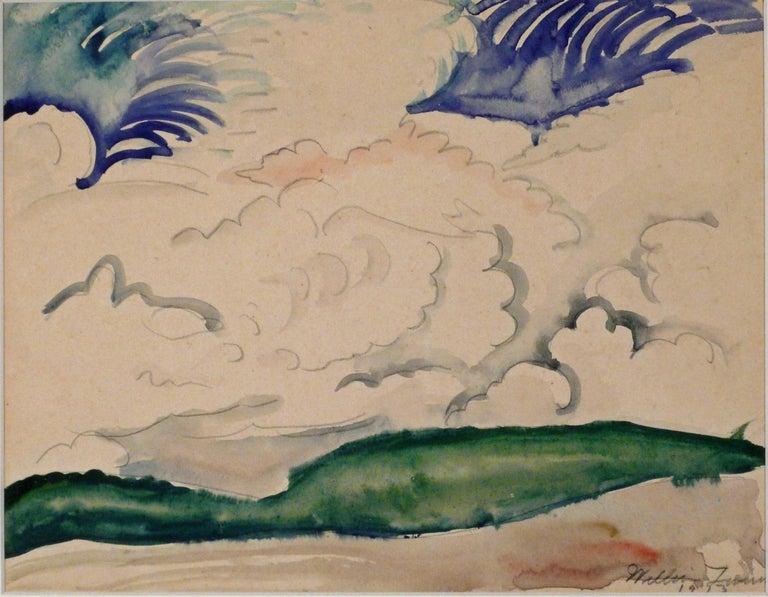 William Zorach Landscape Art - LANDSCAPE WITH CLOUDS