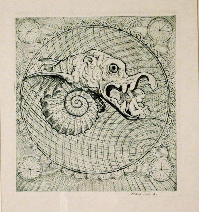 Hans Thoma Figurative Print - RATSELRACHEN III (JAWS OF THE RIDDLE III)