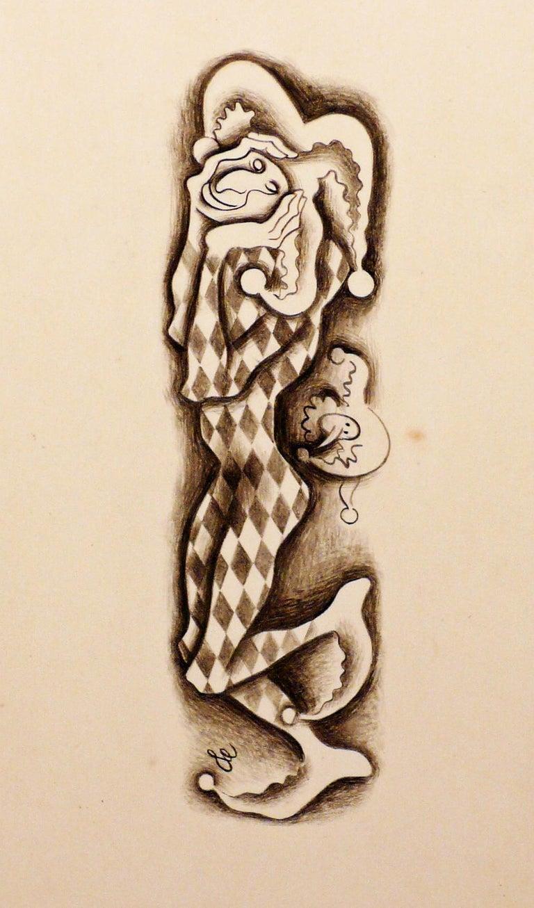 Francis Danovich Figurative Art - COMEDIA DEL ARTE - TWO DRAWINGS.