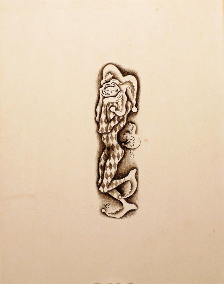 COMEDIA DEL ARTE - TWO DRAWINGS.  - Beige Figurative Art by Francis Danovich