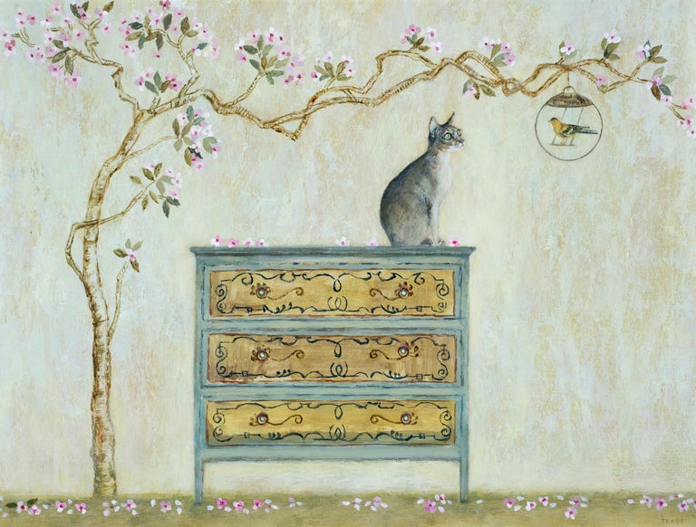 Tracy Rees Animal Painting - Captive Bird - Contemporary - animal painting - figurative art