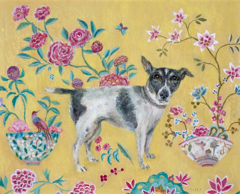 Tracy Rees Figurative Painting - Chinese Rug - Contemporary - animal paintings - interior scene