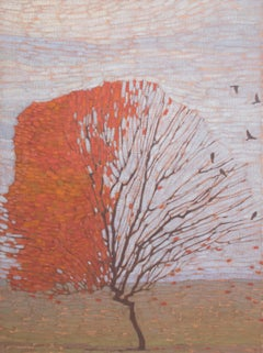 Autumn tree with birds