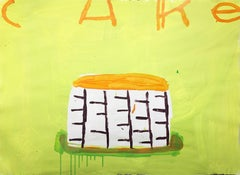 Mixed media painting of cake, Gary Komarin, Cake (Lime & Orange)