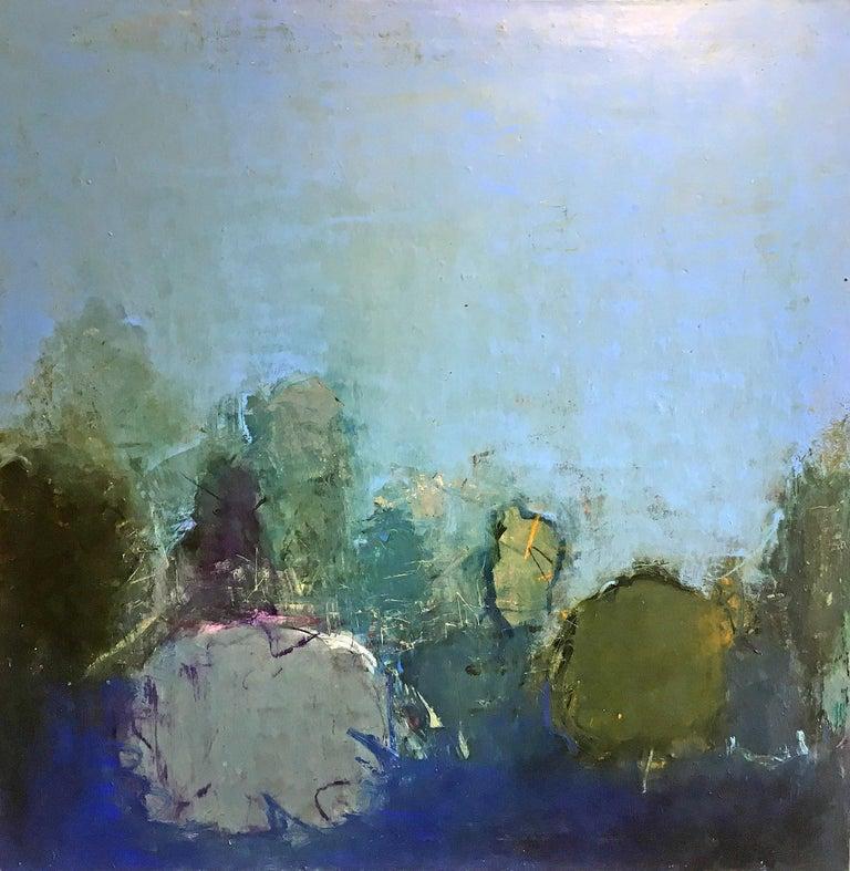 Oil & cold wax painting, Sandrine Kern, Floral Park - Mixed Media Art by Sandrine Kern