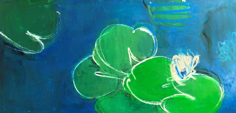 Oil painting, Sandrine Kern, Dreamy Water Lilies - Painting by Sandrine Kern