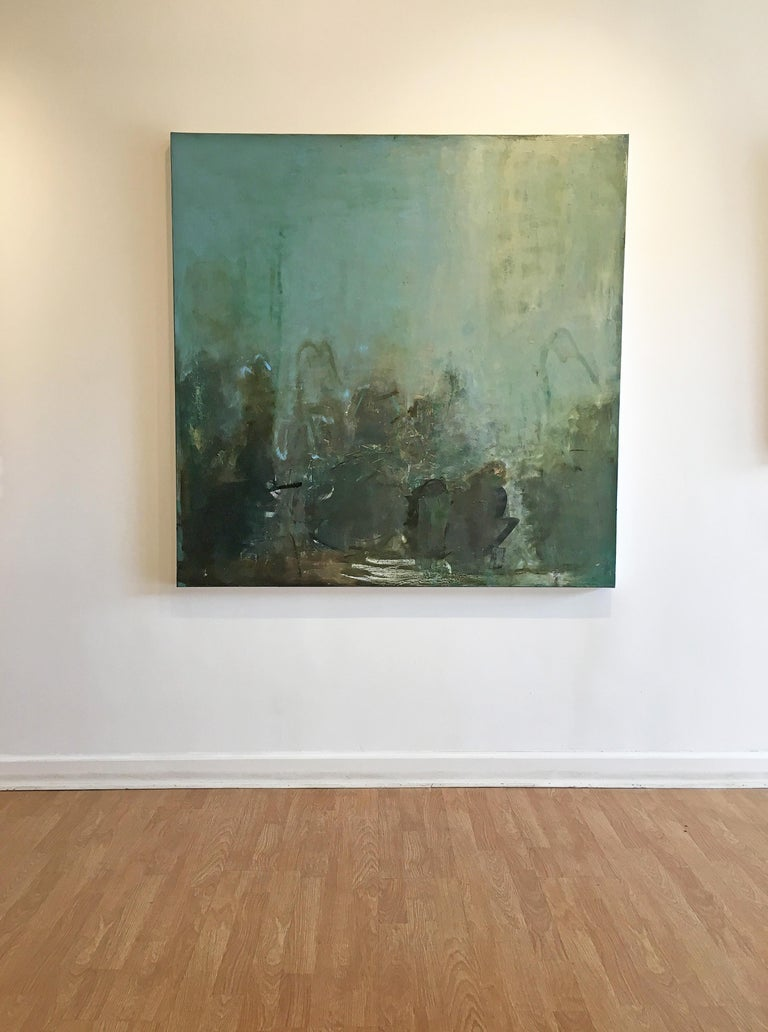 Any Day Now - Gray Abstract Painting by Sandrine Kern