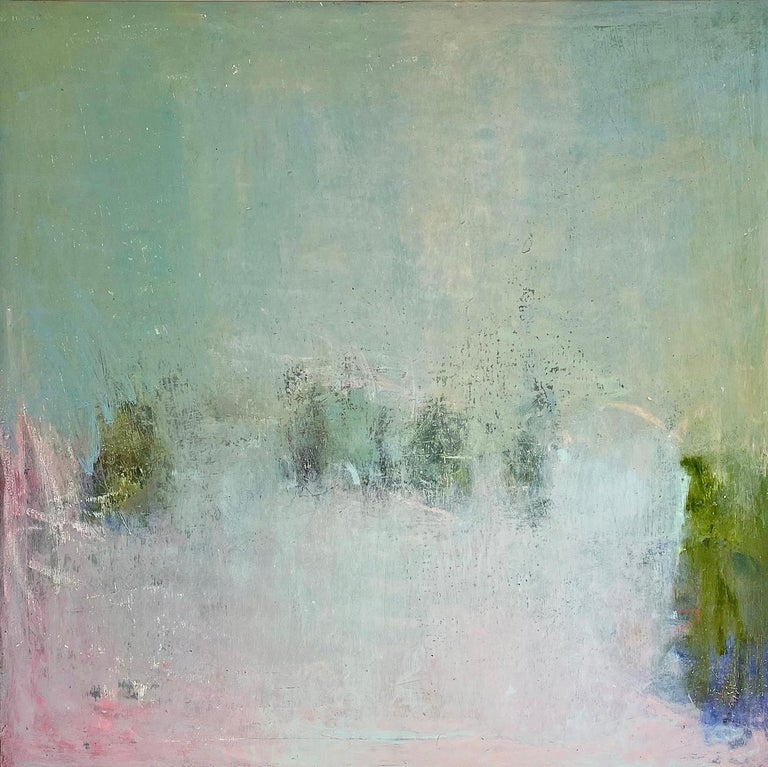 Oil & cold wax painting, Sandrine Kern, Pink Daze - Painting by Sandrine Kern