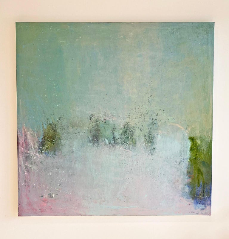 Oil & cold wax painting, Sandrine Kern, Pink Daze - Abstract Painting by Sandrine Kern