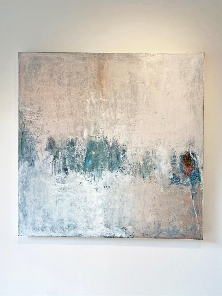 Oil & cold wax painting, Sandrine Kern, Winter White Out - Abstract Mixed Media Art by Sandrine Kern