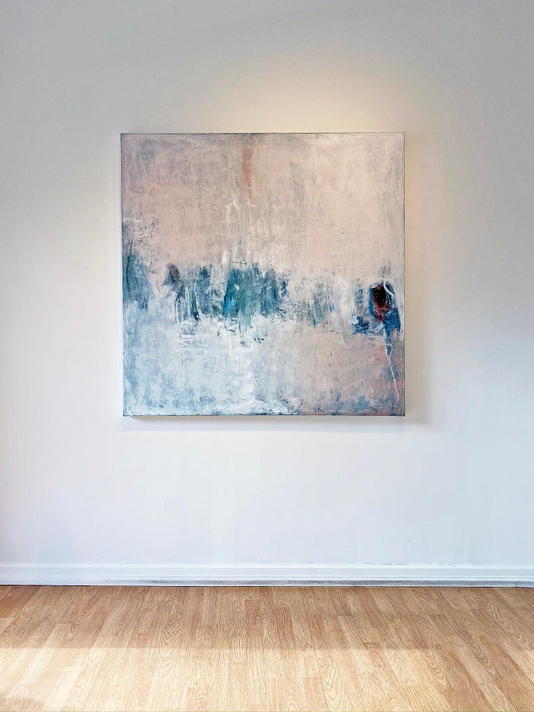 Oil & cold wax painting, Sandrine Kern, Winter White Out For Sale 1