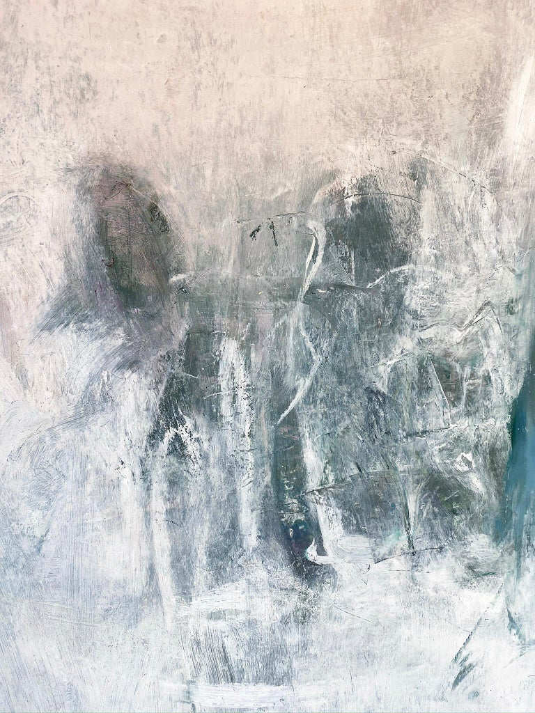 Oil & cold wax painting, Sandrine Kern, Winter White Out For Sale 2