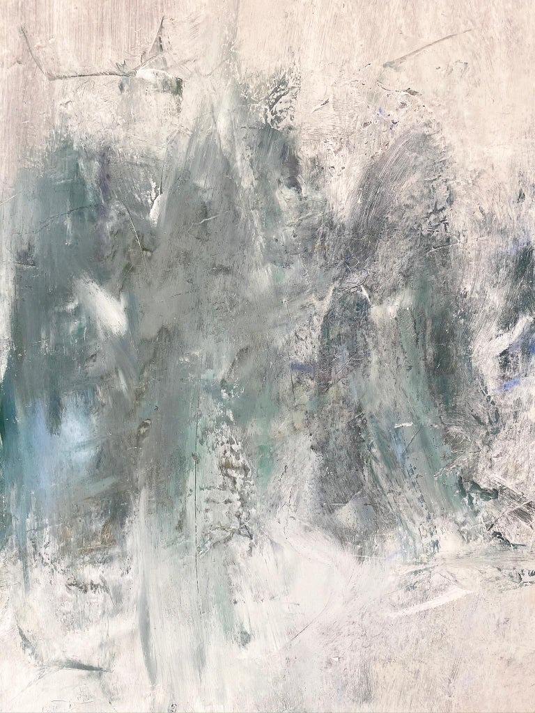 Oil & cold wax painting, Sandrine Kern, Winter White Out For Sale 3