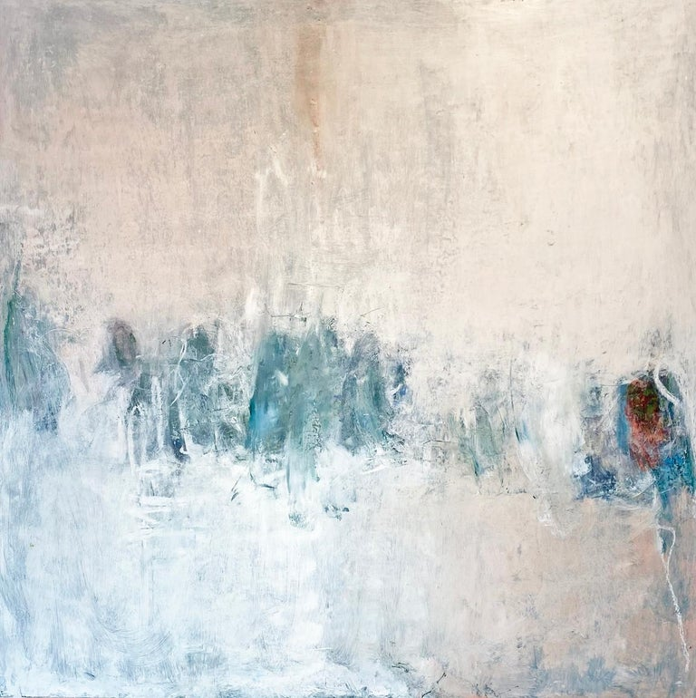 Oil & cold wax painting, Sandrine Kern, Winter White Out - Mixed Media Art by Sandrine Kern