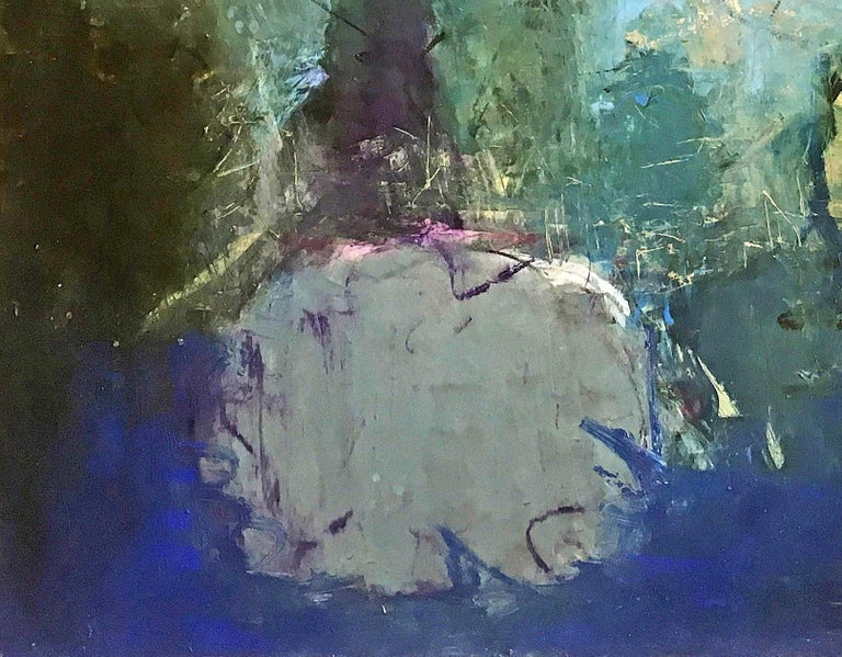 Oil & cold wax painting, Sandrine Kern, Floral Park For Sale 1